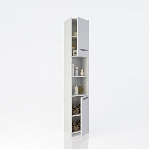 Badschrank Holz Badezimmerschrank Hochschrank Badmöbel Schrank Regal Badregal 2 Türen Weiß