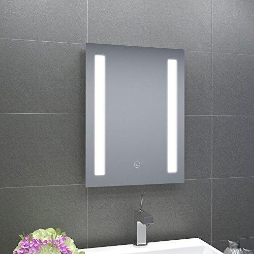 badspiegel 45x60cm spiegel eckig mit energiesparender led beleuchtung warmwei ip44. Black Bedroom Furniture Sets. Home Design Ideas