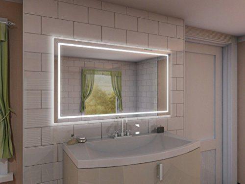 Badspiegel mit Beleuchtung Aurora M215L4: Design Spiegel für Badezimmer, beleuchtet mit LED-Licht, modern - Kosmetik-Spiegel Toiletten-Spiegel Bad Spiegel Wand-Spiegel
