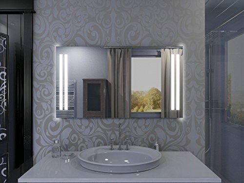 Badspiegel mit Beleuchtung Columbia M02L2V: Design Spiegel für Badezimmer, beleuchtet mit LED-Licht, modern - Kosmetik-Spiegel Toiletten-Spiegel Bad Spiegel Wand-Spiegel