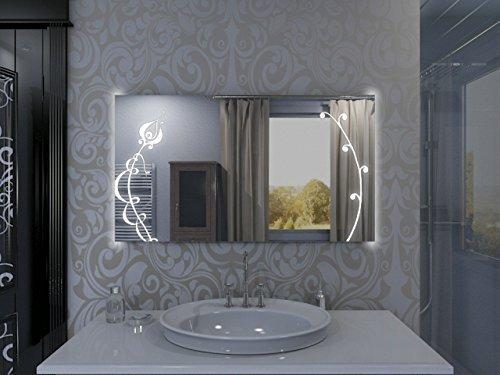 badspiegel mit beleuchtung fleurir f131l2v design spiegel f r badezimmer beleuchtet mit led. Black Bedroom Furniture Sets. Home Design Ideas