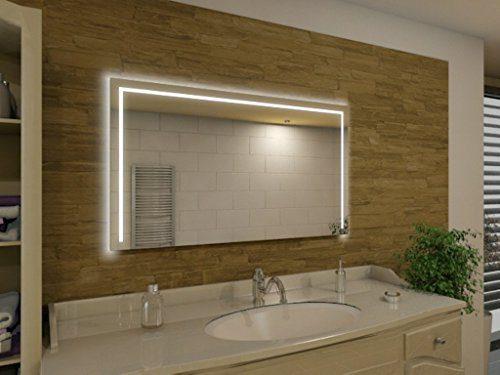 Badspiegel mit Beleuchtung Garland M216L3: Design Spiegel für Badezimmer, beleuchtet mit LED-Licht, modern - Kosmetik-Spiegel Toiletten-Spiegel Bad Spiegel Wand-Spiegel