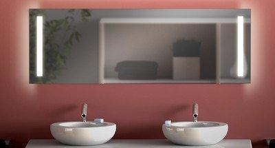 Badspiegel mit Beleuchtung M36 M318L2V: Design Spiegel für Badezimmer, beleuchtet mit LED-Licht, modern - Kosmetik-Spiegel Toiletten-Spiegel Bad Spiegel Wand-Spiegel