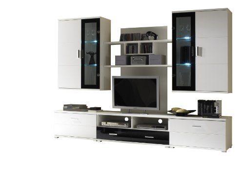 Bega 89-356-25 Libero 2 Wohnwand weiß / Glas mit schwarzem Rahmen, Maße B/H/T 265 x 185 x 45 cm