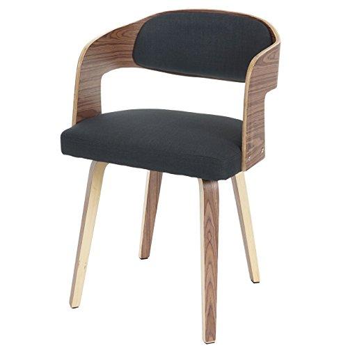 Besucherstuhl Gola, Esszimmerstuhl Stuhl, Holz Bugholz Retro-Design ~ Textil anthrazit