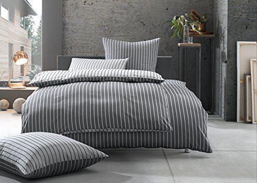 Bettwaesche-mit-Stil Mako Satin Damast Streifen Wendebettwäsche (schwarz, 200cm x 200cm + 2x 80cm x 80cm)