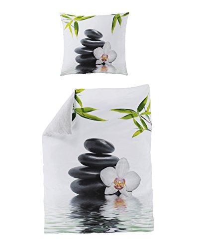 Bierbaum 5060_01 Mako-Satin Bettwäsche Dessin, Digitaldruck, 155 x 220 cm und 80 x 80 cm, weiß 01