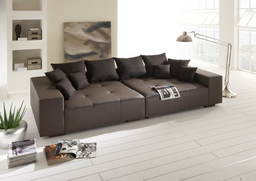 bigsofa susi in robustem wollstoff grau inkl 8 kissen 282cm m bel24. Black Bedroom Furniture Sets. Home Design Ideas