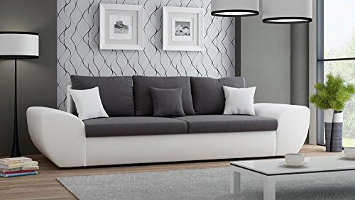 big sofa mit schlaffunktion und bettkasten in wei sitzfl che in anthrazit r ckenecht bezogen. Black Bedroom Furniture Sets. Home Design Ideas