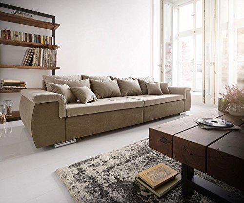 bigsofa navin braun grau 275x116 cm inklusive kissen xxl sofa m bel24. Black Bedroom Furniture Sets. Home Design Ideas