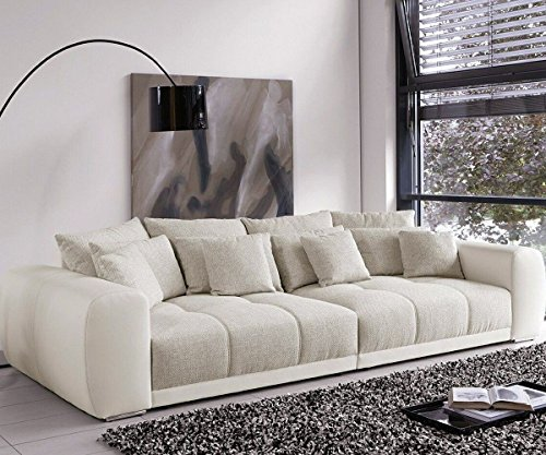 bigsofa valeska grau weiss couch 310x135 cm mit 12 kissen big sofa m bel24. Black Bedroom Furniture Sets. Home Design Ideas