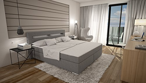 boxspringbett 180x200 grau stoff led kopflicht t v gepr ft visco matratze kunstleder hotelbett. Black Bedroom Furniture Sets. Home Design Ideas