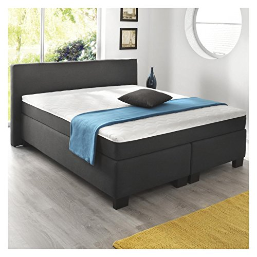 boxspringbett doppelbett hotelbett 180 x 200 cm leder optik anthrazit 0 m bel24. Black Bedroom Furniture Sets. Home Design Ideas