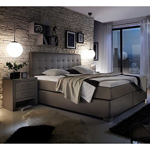 boxspringbett in taupe matratze 3 teilig inkl 1 tonnentaschenfederkern h2 1 in h3 pharao24. Black Bedroom Furniture Sets. Home Design Ideas