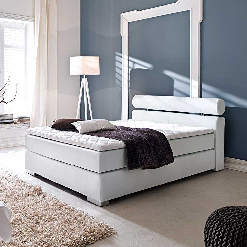 boxspringbett in wei topper und matratze breite 162 cm liegefl che 160x200 pharao24 m bel24. Black Bedroom Furniture Sets. Home Design Ideas