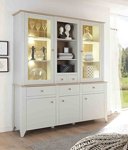 buffet buffetschrank landhaus nebelgrau eiche camargue anrichte esszimmer speisezimmer. Black Bedroom Furniture Sets. Home Design Ideas
