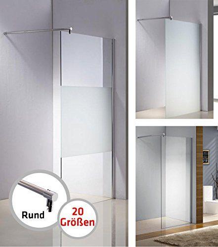 CLP Edelstahl-Duschabtrennung, NANO Glas, Haltestange: RUND (bis zu 3 Glasfarben und 20 Größen wählbar) halbmilchglas, 80x200x100