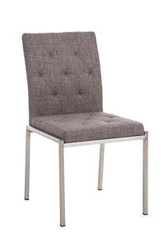CLP Edelstahl Esszimmer-Stuhl CHARLY mit Stoffsitz, modernes & schlichtes Design, Sitzhöhe 48 cm, bis zu 7 Farben wählbar grau