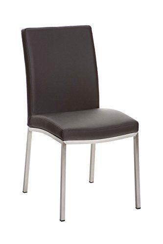 CLP Edelstahl Esszimmer-Stuhl GRENOBLE mit Kunstledersitz, modernes & schlichtes Design, Sitzhöhe 48 cm, bis zu 11 Farben wählbar braun