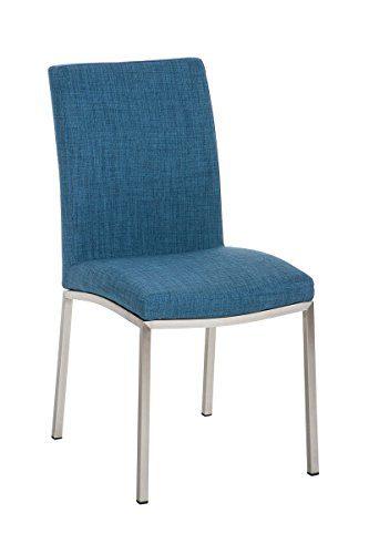 CLP Edelstahl Esszimmerstuhl GRENOBLE mit Stoffsitz, modernes & schlichtes Design, Sitzhöhe 48 cm, bis zu 7 Farben wählbar blau