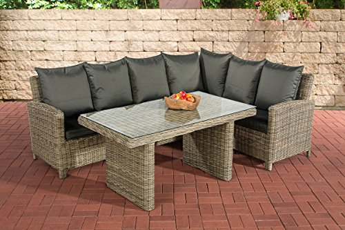 clp poly rattan garten garnitur minari 5mm natura 6 personen eckbank esstisch 140 x 80 cm. Black Bedroom Furniture Sets. Home Design Ideas