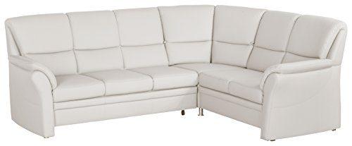 Cavadore 4342 Wohnlandschaft Klariza, 3-Sitzer mit Bett links, Spitzecke mit Relaxfunktion Plus, 2-Sitzer mit Schublade rechts, 264 x 102 x 214 cm, bison pure weiß 03-01