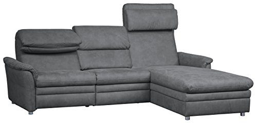 Cavadore 526 Polsterecke Chalsay, 3-Sitzer mit Kopfteilverstellung links, Longchair rechts, 252 x 94-123 x 177, Cruze argent 709