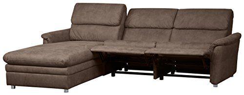 Cavadore 526 Polsterecke Chalsay, Longchair links, 3-Sitzer mit Relaxliner rechts, 252 x 94 x 177, Cruze chocco 260