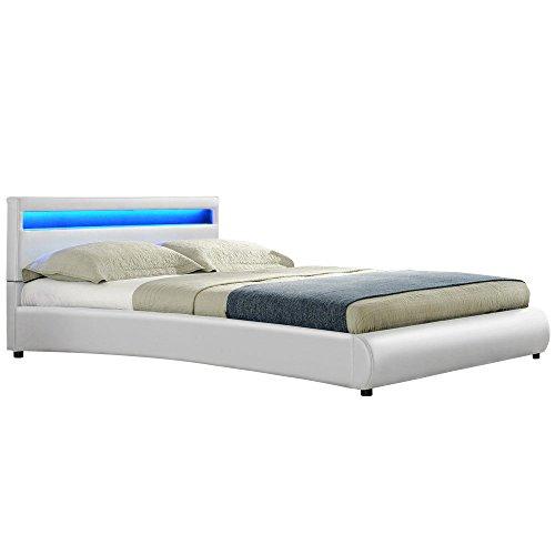 Corium LED Polsterbett 'Miami' (140x200cm)(weiss) - mit PU-Kunstleder / Kunstlederbezug / RGB - Beleuchtung / mit Stecklattenrost /