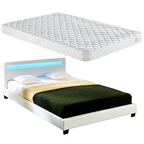 Corium LED Polsterbett (Paris) mit Matratze (160x200cm)(weiss)(Kaltschaum) - mit Kunst - Leder / Kunstlederbezug / RGB - Beleuchtung / mit Stecklattenrost /