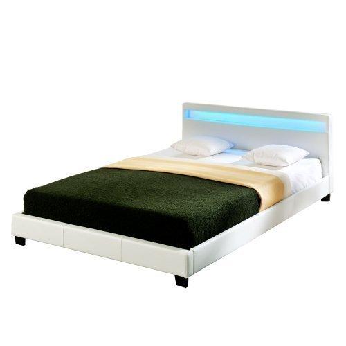Corium LED Polsterbett (Paris) (weiss)(160x200cm) modernes Bett / Kunst - Leder / mit Lattenrost /