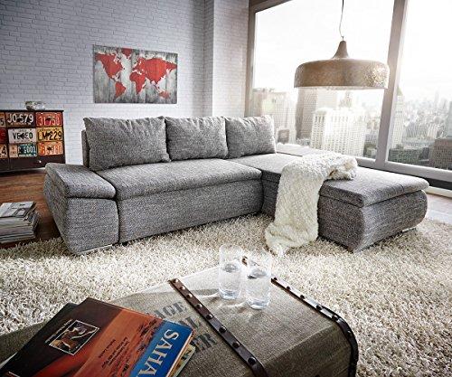 Couch abilene grau 260 175 cm bettfunktion ottomane for Ecksofa umbauen