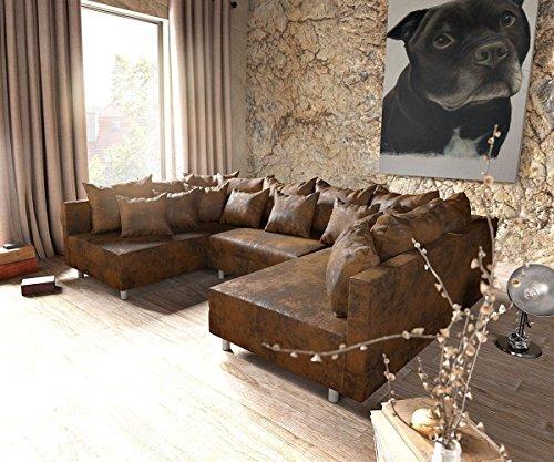 couch clovis braun antik optik wohnlandschaft modulares sofa m bel24. Black Bedroom Furniture Sets. Home Design Ideas