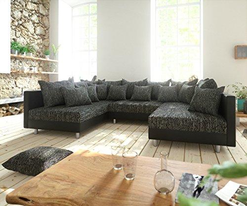 Couch clovis schwarz wohnlandschaft modulares sofa aus for Wohnlandschaft 100 euro