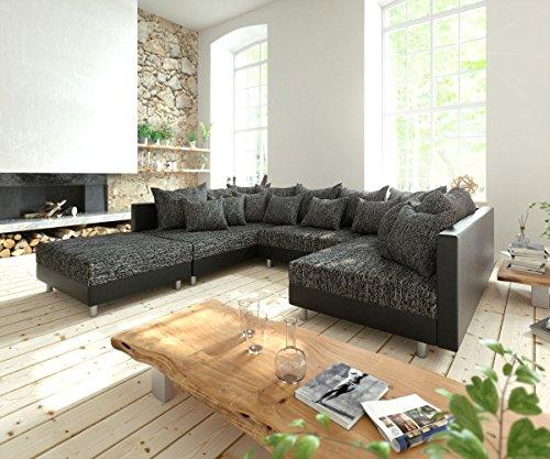couch clovis schwarz mit hocker wohnlandschaft modulsofa m bel24. Black Bedroom Furniture Sets. Home Design Ideas