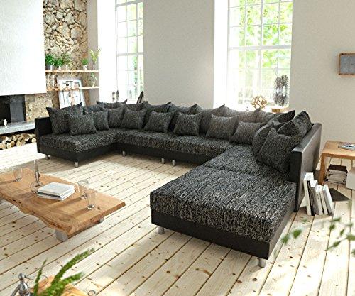 Couch clovis xl schwarz mit hocker wohnlandschaft for Wohnlandschaft 100 euro