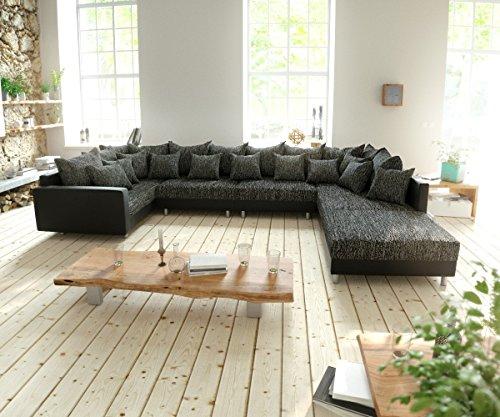 Couch clovis xl schwarz mit hocker und armlehne for Wohnlandschaft 100 euro