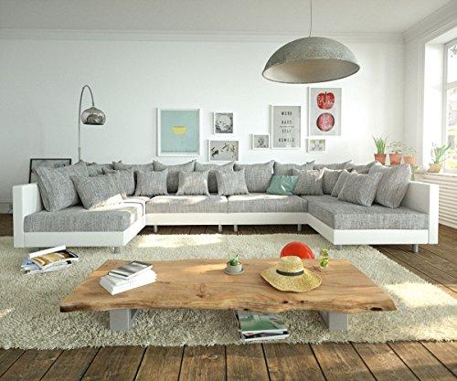 Couch clovis xl weiss hellgrau wohnlandschaft modulsofa for Wohnlandschaft module