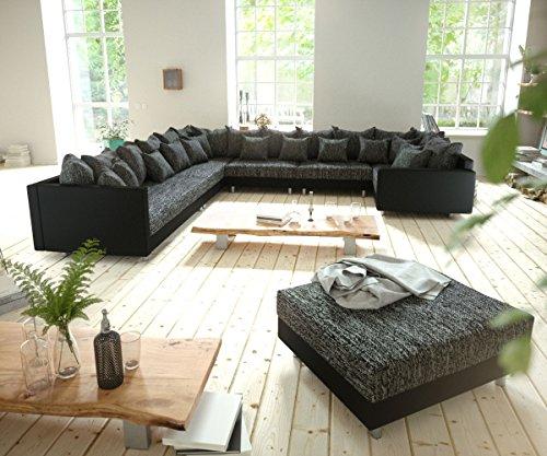Couch clovis xxl schwarz modulsofa hocker armlehne for Wohnlandschaft 100 euro