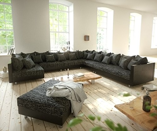 couch clovis xxl schwarz mit hocker ottomane rechts wohnlandschaft modulares sofa m bel24. Black Bedroom Furniture Sets. Home Design Ideas