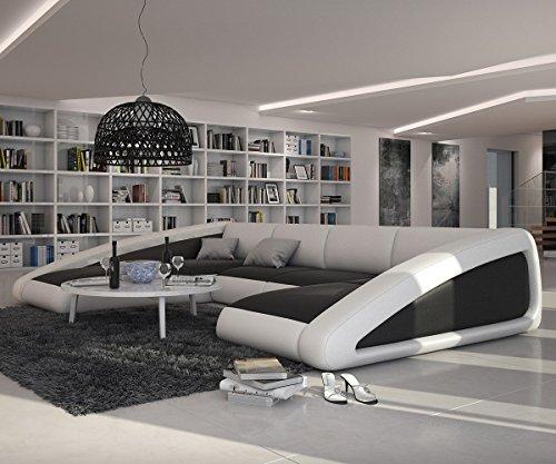 Couch Kerry Weiss Schwarz 355x245 cm XXL Sofa Ottomane links