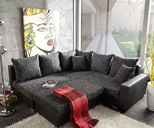 Couch Lavello Grau Schwarz 210x210 Ottomane Links mit Hocker Ecksofa