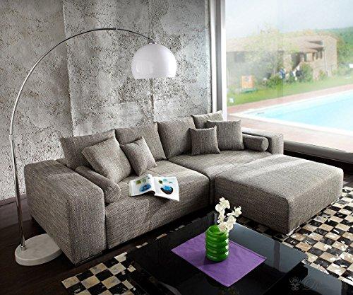 Couch Marbeya Hellgrau 290x110 cm mit Schlaffunktion Hocker