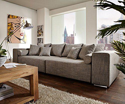 Couch Marbeya Hellgrau 290x110cm mit Schlaffunktion Big-Sofa