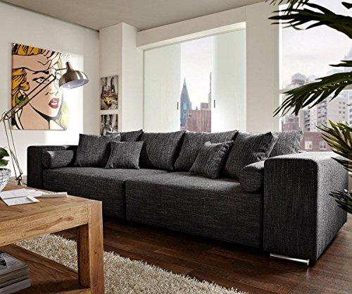 Couch Marbeya Schwarz 290x110 cm mit Schlaffunktion Big-Sofa