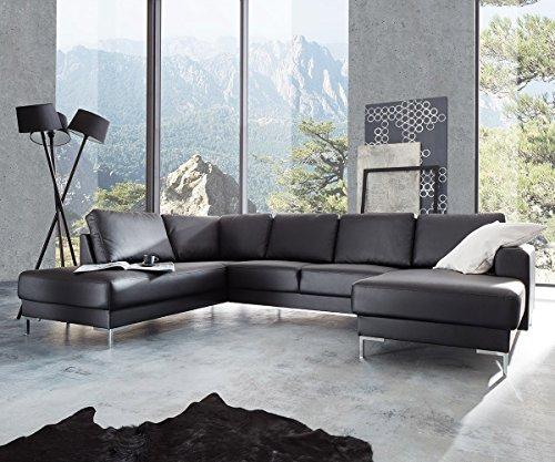 couch silas schwarz 300x200 cm ottomane links designer wohnlandschaft m bel24. Black Bedroom Furniture Sets. Home Design Ideas