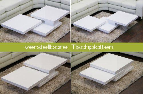 Couchtisch CUBE Hochglanz Lack Weiss Loungetisch Beistelltisch Schwenkbar Drehbar