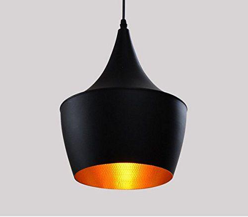 Creative im einfachen Anhänger Light Schirm schwarz matt Oberfläche golden Antik Type C (Black)