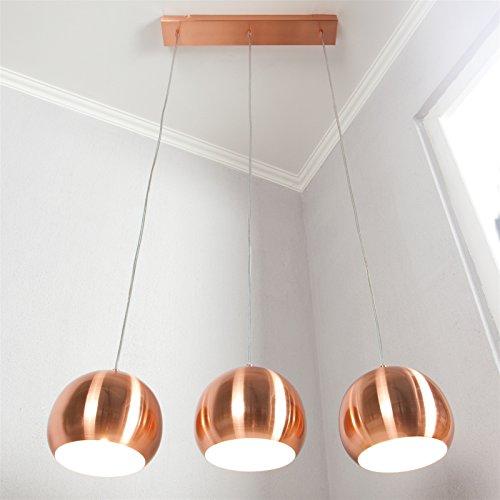 """DESIGN HÄNGELEUCHTE """"COPPER TRIO"""" Lampe Kupfer höhenverstellbar 3 kugelförmige Lampenschirme"""