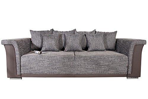 Design Big XL Sofa BELLINA hellgrau Strukturstoff charcoal Schlaffunktion Federkern